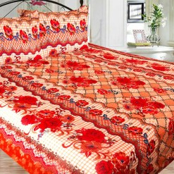 Double Bed Sheet Poly Cotton Fast Colors Best Price  Avioni Quality Guarantee In Beautiful Floral Design-216X228 cms