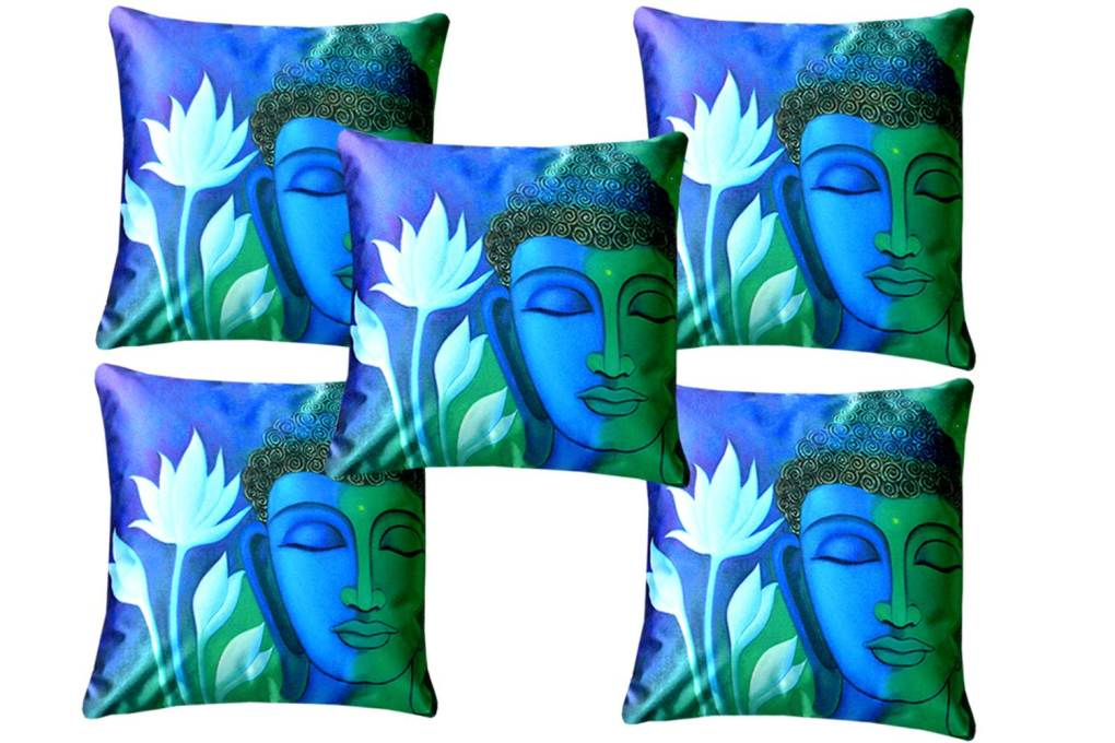 3D Cushion Covers Buddha With Lotus- Best Price 16 X 16 Inch (set of 5) by Avioni
