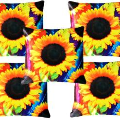 3D Cushion Covers Smile Of Sunflowers- Best Price 16 X 16 Inch (set of 5) by Avioni