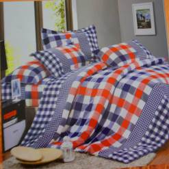 Double Bedsheet  Cotton With Multicolor Small Square