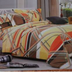 Double Bedsheet  Cotton With Multicolor Cross Print