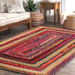 Braided Area Rug – Ecofriendly Recycled Cotton Chindi and Jute – Colorful Contemporary Design – 3 feet X 5 feet  – Avioni Premium Eco Collection