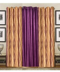 Brown & Purple Polyester And Crush Curtain Material (set of 3) by Avioni