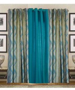 Curtains In Aqua Blue Heavy Crush Material (set of 3) by Avioni
