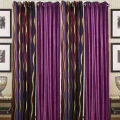 Curtains In Purple Heavy Polyester Material (set of 4) by Avioni