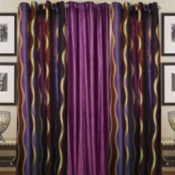 Purple Heavy Crush And Polyester Curtain Material (set of 3) by Avioni