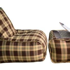 BIGMO Designer Bean Bag Lounger Extra Soft Without Beans In Brown Check 100% Cotton – XXXL