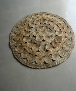 Jute Mat - Natural Round Braided Area Rugs in Beautiful Design - Handmade & Unbleached -4 feet Diameter - Premium Rugs By Avioni