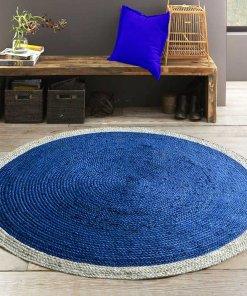 Jute Mat – Round Braided Area Rugs  – Cool Blue Centre  – Handmade – 5 feet Diameter – Avioni Premium Eco Collection