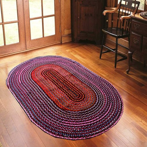 Rag Rug – Cotton Chindi Modern Area Rugs (Colours Can Be Different But Will Remain In Multicolour  – Braided -Handmade – Reversible – Oval – 37 x 60 inches – Avioni Premium Eco Collection – Best Seller