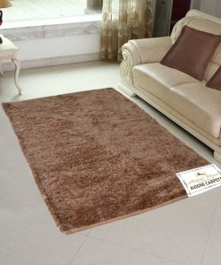Handloom Rugs Carpets For Living Room Solid Colors Golden Brown Reversible -3 X 5 Feet by Avioni