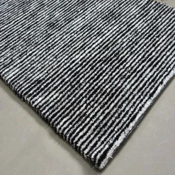 Solid Handloom Black And White Striped Rug/ Carpets 3 x 5 Feet By Avioni