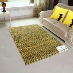 Solid Handloom Yellow-Black Striped Rug/ Carpets 3 x 5 Feet By Avioni