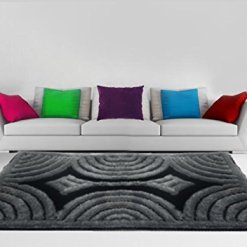 3D Shaggy Carpet of Black and Grey Color By Avioni