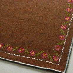 Brown Carpet Designs | Woolen Mat | Embroidered | Avioni