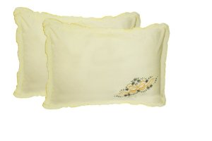 Embroidered Pillows -Beautiful Pillow Cases of Yellow Color with Embroidery (set of 2) by Avioni