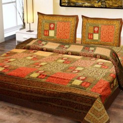 Double Bed Sheet  Brown & Orange Abstract  Design