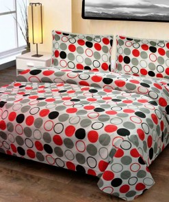 Double Bed Sheet  White & Red Circle
