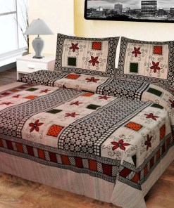 Double Bed Sheet  White,Black  & Red Square Design