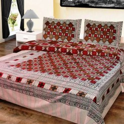 Double Bed Sheet  White In Red Square Box