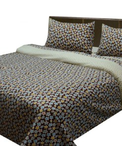 Cotton bedsheets with multicolor small flowers all over on cream base