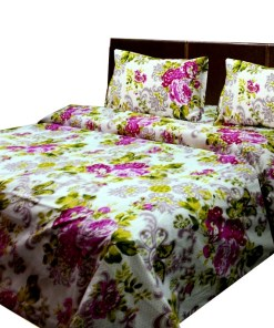 Cotton bedsheets with pink flowers on white  base