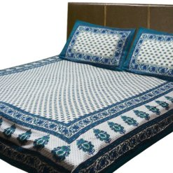 Jaipuri Printed Double Bedsheet 100% Cotton By Avioni (90 X 95 Inches)
