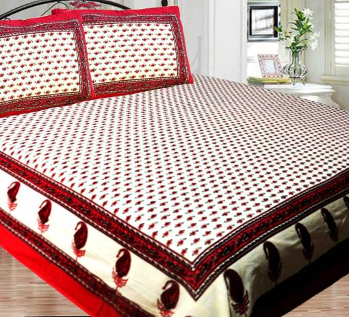 Jaipuri Double Bedsheet in Printed 100% Cotton By Avioni-Size – 228 X 240 cms