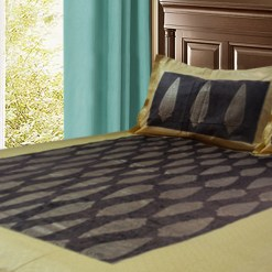 Jaipuri Double Bedsheet in Gold and Dark Brown by Avioni-228×274 cms