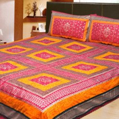 100% Cotton Double Jaipuri Gold Bed sheet Yellow with Kantha Work