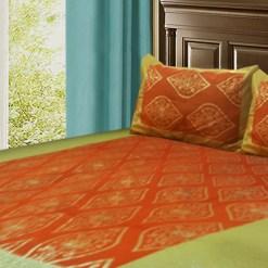 Jaipuri Gold Double Bedsheet 100 % Cotton Orange Color by Avioni-Size -228 X 274 cms