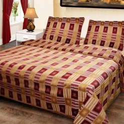 Double Bed Cover Cotton Cream In Golden & Red Square