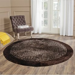 Handloom Soft Shaggy Plain Coffee With Border Round Carpet (130 Cms) by Avioni
