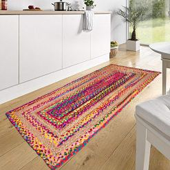 Braided Rug in Ecofriendly Recycled Cotton Chindi and Jute – Colorful Contemporary Design – Perfect for Hallway or Bedside – 22X55 Inches –  Avioni