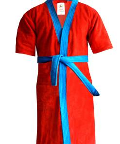 Loomkart Very Fine Export Quality Bath Robes in Red With Blue in Very Soft Velvet Finish Avioni Zip-Packing- Standard Size