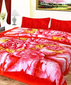 Mink Double Bed Blankets Shiny Roses In Pink Very Soft And Warm by Avioni