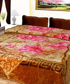 Mink Blankets Embossed in Coffee Multi Floral for Double Bed by Avioni