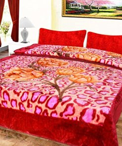 Mink Blankets Embossed in Pink Patels for Double Bed Queen Size by Avioni