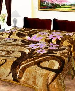 Avioni Mink Double Bed Blankets Embossed In Coffee And Beige Very Soft And Warm …