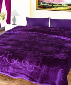 Avioni Mink Double BedBlankets Self Embossed Purple Soft And Warm …