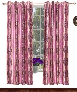Avioni Home Fancy Rich Look  Purple Leaves  Eyelet Curtain Polyester Material
