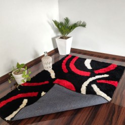 Modern Rug – Shag Pile  – contemporary Black And Red Design @ Factory Price from Avioni
