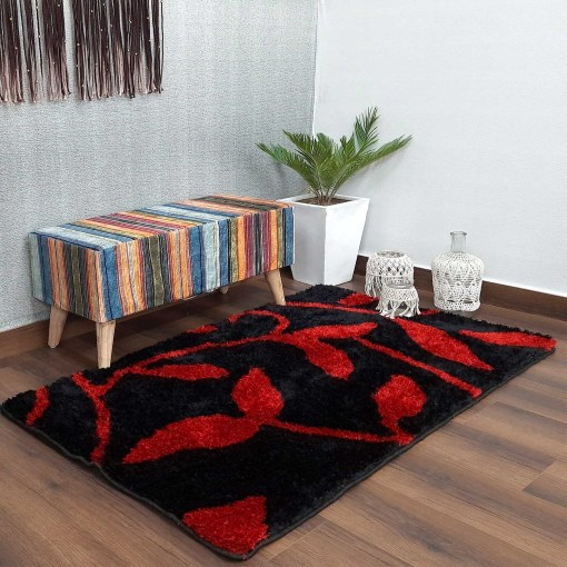 Designer Shaggy Carpet Black With Red Leaves In Premium By Avioni