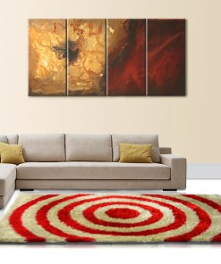 Designer Rugs For Living Room - Shag Rug with Modern Red And Beige Ripple Illusion Design - Contemporary Rugs @ Avioni Factory Price