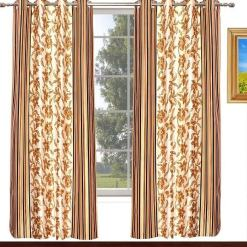 Avioni Home Fancy Rich Look  Brown Flowers With Stripes Eyelet Curtain Polyester Material