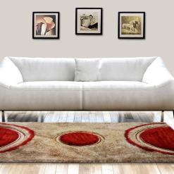 Shag Carpet –  Modern Rug in Beige and Red Design  –  Avioni  – Best Deal