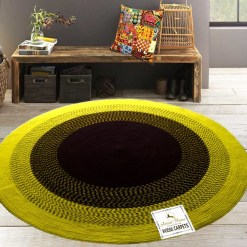 """Avioni Cotton Braided Sunflower Look Area Rug 140CMS (Diameter) round, """"Nature Collection"""" Specially designed for festive season, Handmade by Skilled Artisan, Cotton Rich Vibrant Colors Yarn, Thick ribbed construction, Reversible"""