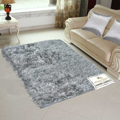 Avioni Handloom Rugs Soft Fur Reversible Silver