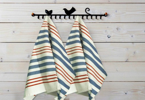 Kitchen Towels / Napkins 100% Cotton (Set Of Six) Red, Blue and white lines
