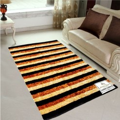 Avioni Rug Brown Beige Stripes For Living Room Actual Feather Touch- Softness Guaranteed-Handloom Made Reversible Light Weight
